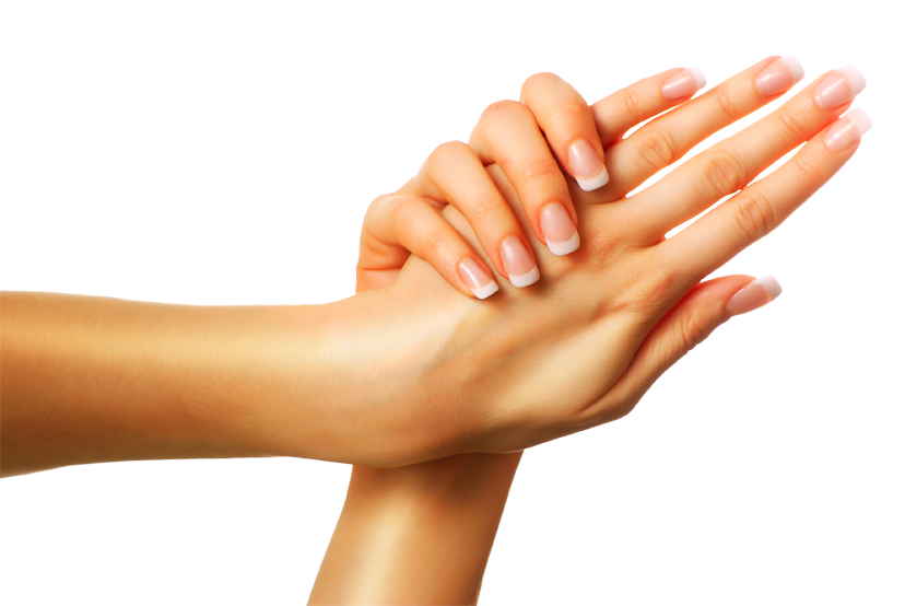 A woman's hands being modeled with a freshly done manicure 2