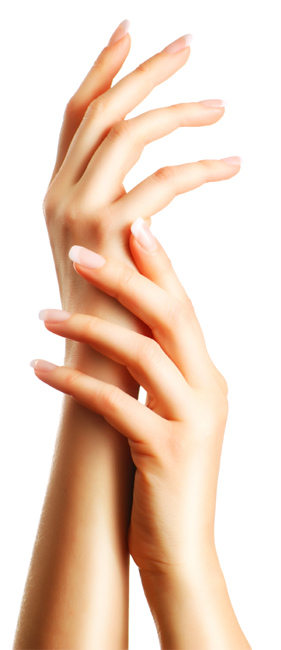 A woman's hands being modeled upwards with a freshly done manicure