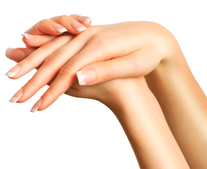 A woman's hands being modeled with a freshly done manicure